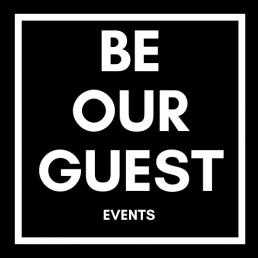 zwart wit logo van Be Our Guest events